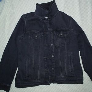 Old Navy Black Sherpa-Lined Denim Jacket